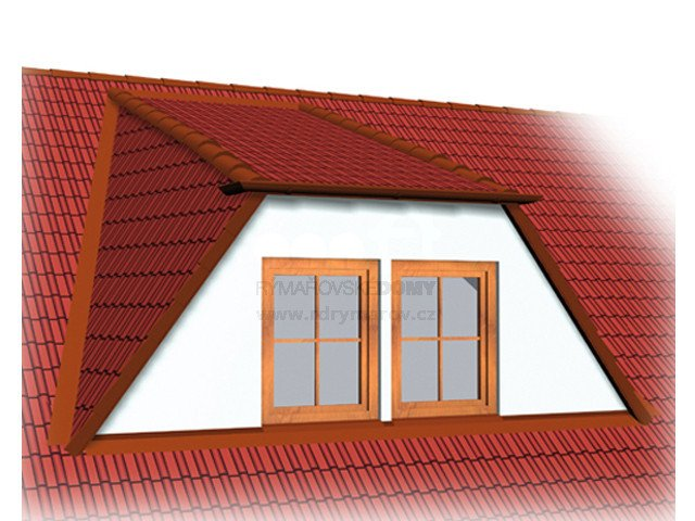 Double - window dormer with flat roof and sloping sides