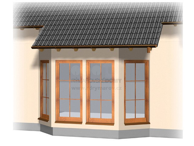 Wide oriel window with flat roof