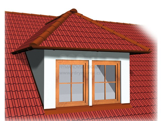 Double - window dormer with hip roof