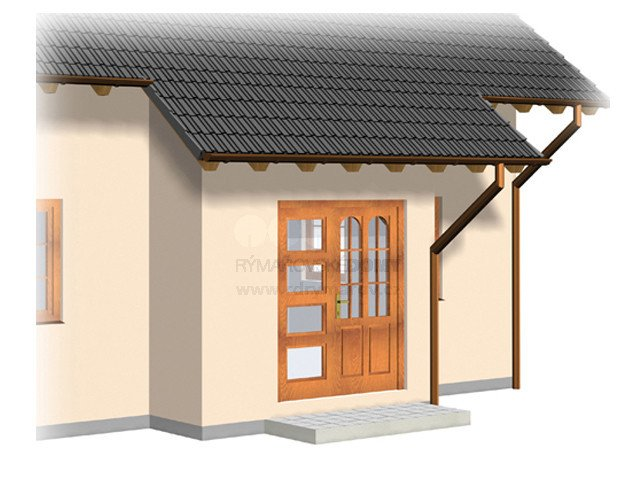 Porch with flat sloping roof